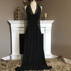 Meghan Los Angeles Black Silk Embroidered Maxi